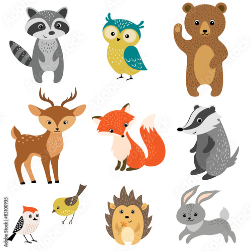 Tuinposter Uilen cartoon Cute forest animals