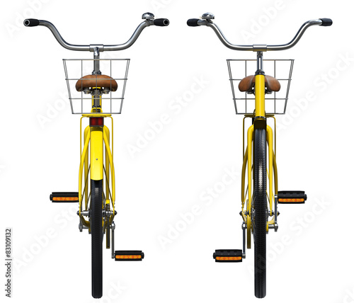 Aluminium Prints Bicycle Yellow Vintage Style Bicycle. Front and back view