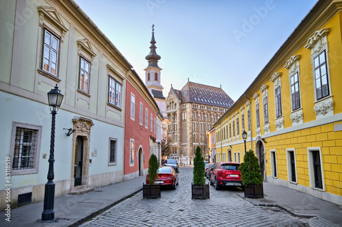 Narrow street on Castle Hill in Budapest, Hungary