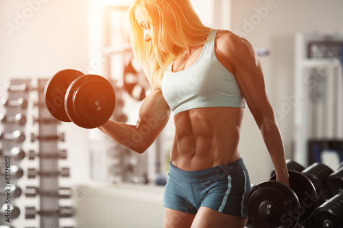 Photo Strong woman bodybuilder
