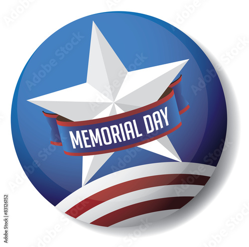 Fotografie, Obraz  Memorial Day pin or button star and stripes design