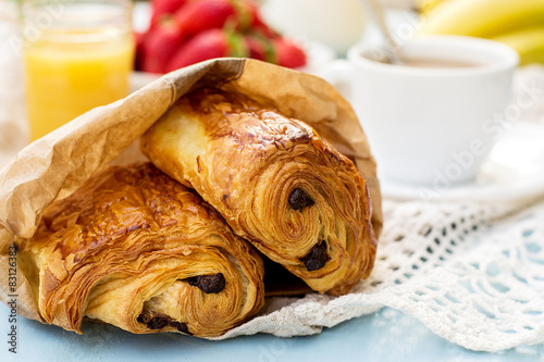 Fotografie, Obraz  French viennoiserie pain au chocolat for breakfast