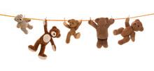 Lustige Gruppe Von Teddy Bären Isoliert Auf Einer Wäscheleine.