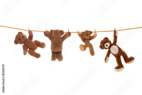 Lustige Gruppe von Teddy Bären isoliert auf einer Wäscheleine.  #83128379