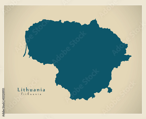 Modern Map - Lithuania LT Wallpaper Mural