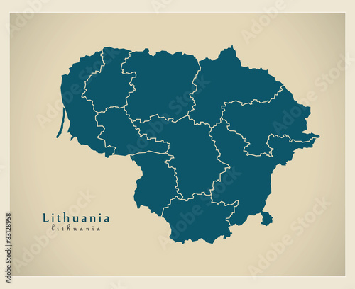 Photo Modern Map - Lithuania with regions LT
