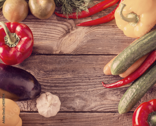 Foto op Plexiglas Retro Vegetables on a Wooden Background