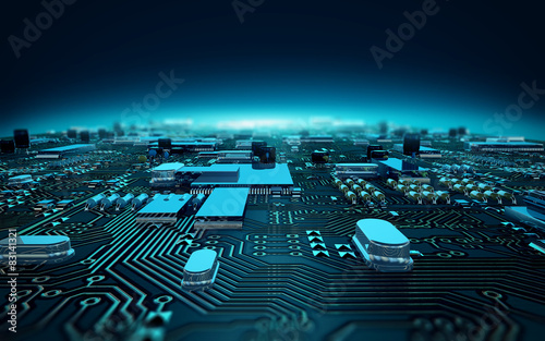 Photo circuit board illustration depth of field
