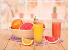 Orange And Grapefruit Juice In Glasses