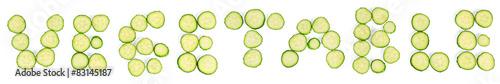 Papiers peints Légumes frais Slices of cucumbers word vegetables