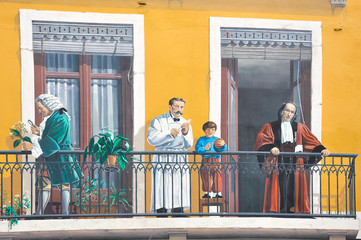 Panel Szklany Graffiti Lyon, Francia, Fresco de los lioneses, arte urbano
