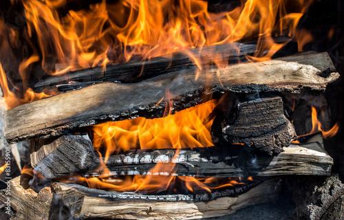 Fototapeta płonące drewno obraz