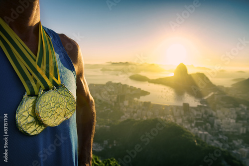 Fotografie, Tablou  Gold Medal Champion Athlete Standing Rio Sunrise Skyline