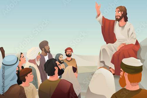 Valokuva  Jesus spreading his teaching to people