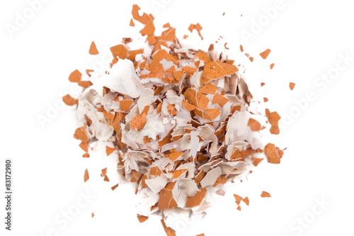 Crushed egg shell on white background