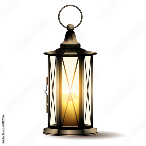 Vintage lantern with candle isolated on white background. Canvas Print