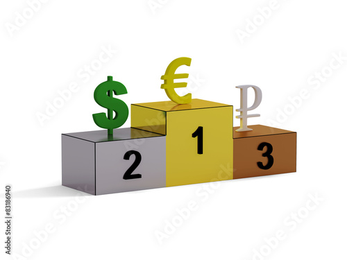 Pedestal with three types of currency, euro,dollar, ruble - Buy this