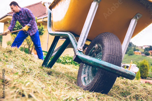 Tablou Canvas Wheelbarrow in the field and man raking on background