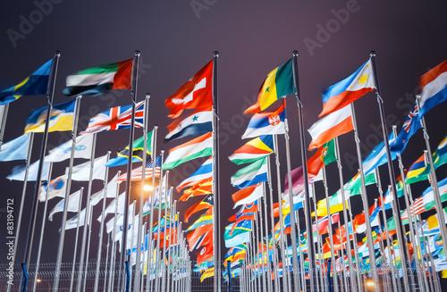 Plakat światowe flagi narodowe
