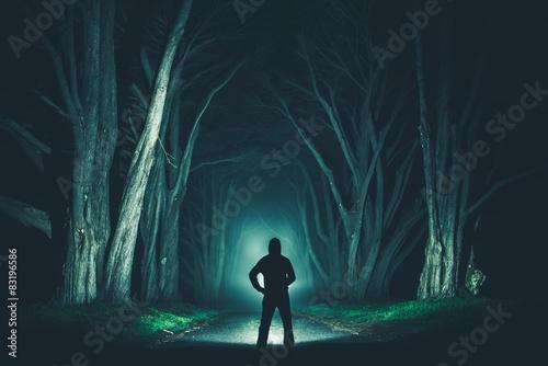 Obraz Men with Powerful Flashlight - fototapety do salonu