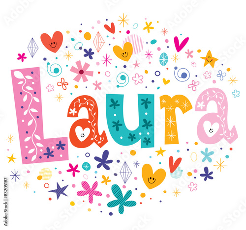 Photo Laura girls name decorative lettering type design