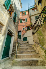 Plakat Alley in Italian old town Liguria Italy