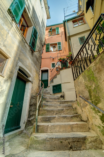 Alley in Italian old town Liguria Italy - 83211716
