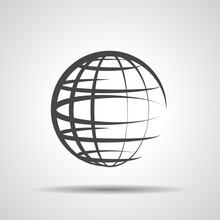 Globe Planet Icon On A Grey Ba...