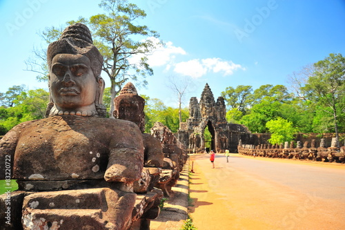Poster Monument Stone Gate of Angkor Thom in Cambodia
