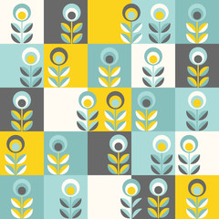 Fototapeta Retro floral pattern, geometric seamless flowers