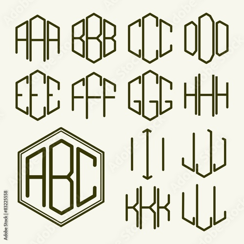 Photo Set 1 template letters to create a monogram of three letters