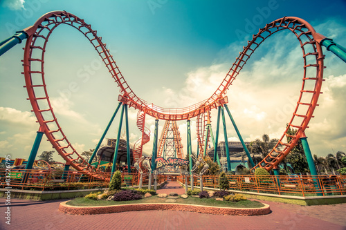 Autocollant pour porte Attraction parc HDR photo of a Roller Coaster