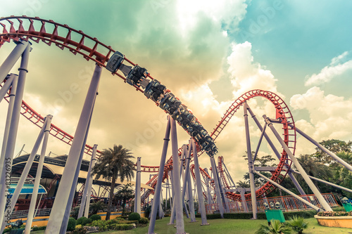 Wall Murals Amusement Park HDR photo of a Roller Coaster