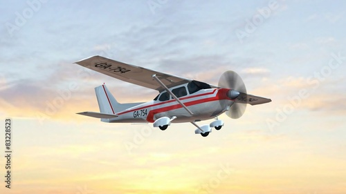 Leinwand Poster most popular single propeller light aircraft fly in the sunset