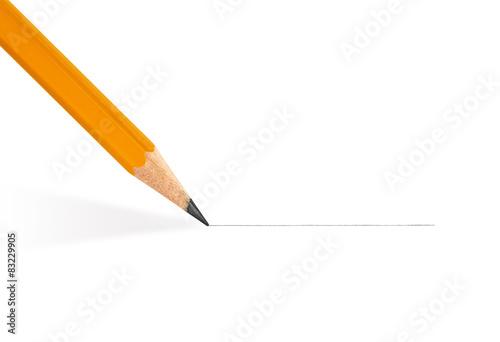 Fotografie, Obraz  pencil draws a straight line on a white background