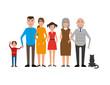 Family portrait with mother, dad, grandma, grandpa, boy, girl