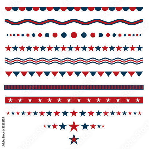 Red and blue dividers for patriotic designs Wallpaper Mural