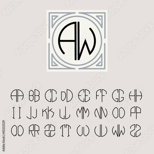 Monogram Art Nouveau and a set of templates of letters Tableau sur Toile
