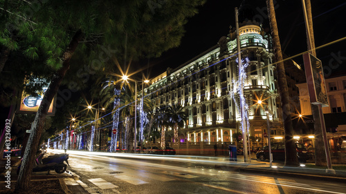 Fototapeta  Cannes city by night with luxury hotels