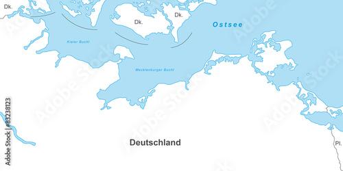 Ostseekuste Karte In Weiss Mit Beschriftung Kaufen Sie Diese