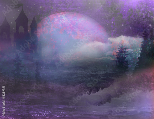 Wall Murals abstract landscape with old castle and moon