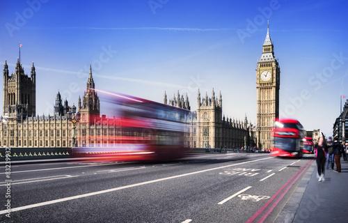 Foto op Canvas Londen rode bus London city by bus