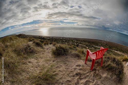 Foto auf AluDibond Drachen Chair outside patagonia lighthouse in valdes peninsula