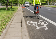 Bicycle Path, Cyclist, Traffic Lane - Red, White Road Marking
