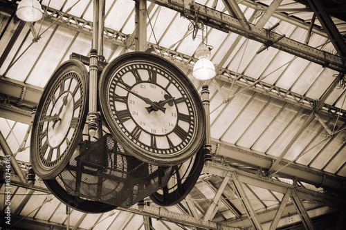 In de dag Londen iconic old clock Waterloo Station, London