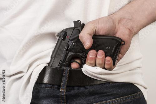 Hombre con Pistola automática en la cintura Canvas Print