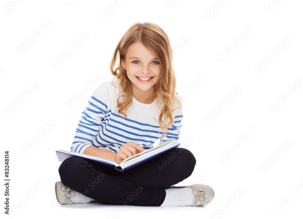 Fototapeta girl reading book