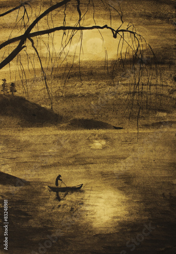 Fotografie, Obraz  fisherman in boat