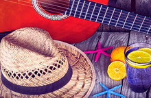 Acoustic Guitar Hat Starfish And Glass Of Tasty Fresh Lemonade