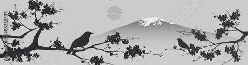 Photo  Japanese design with Fuji mountain and Sakua Tree.